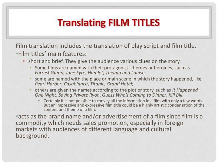 Translating FILM TITLES
