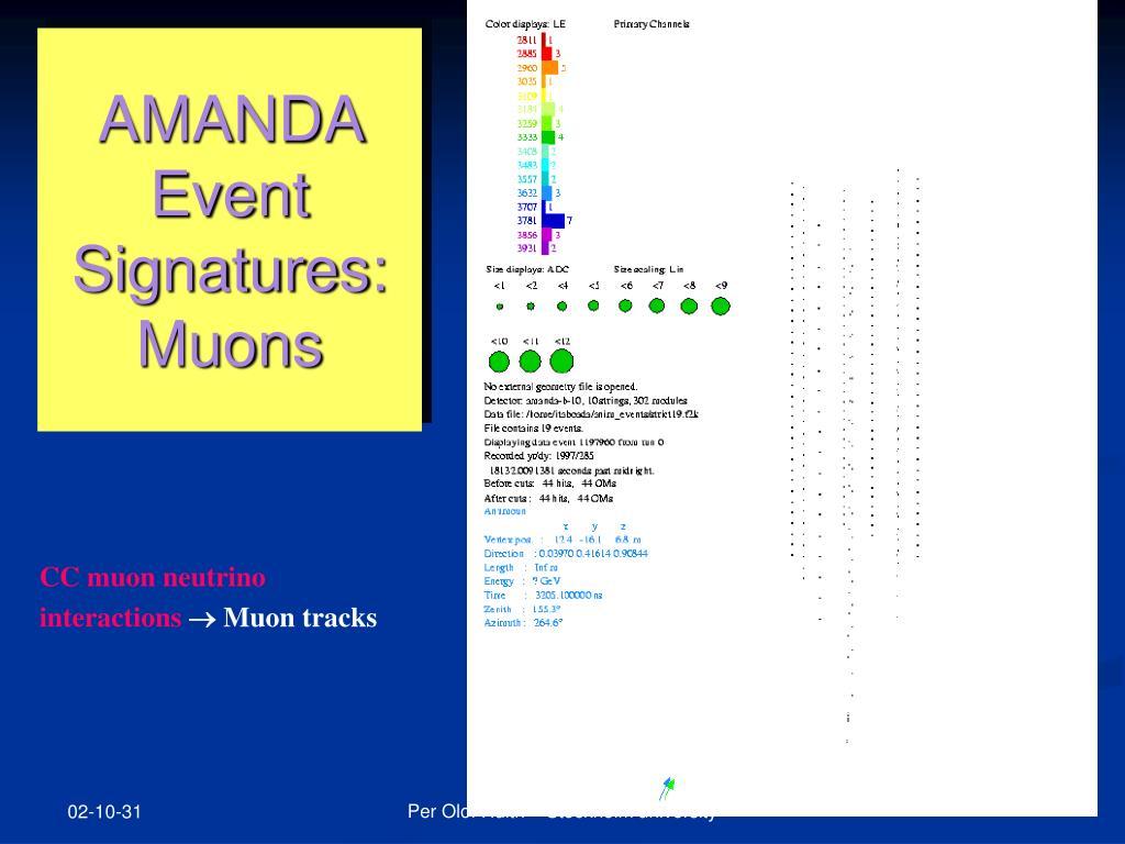 AMANDA Event Signatures: