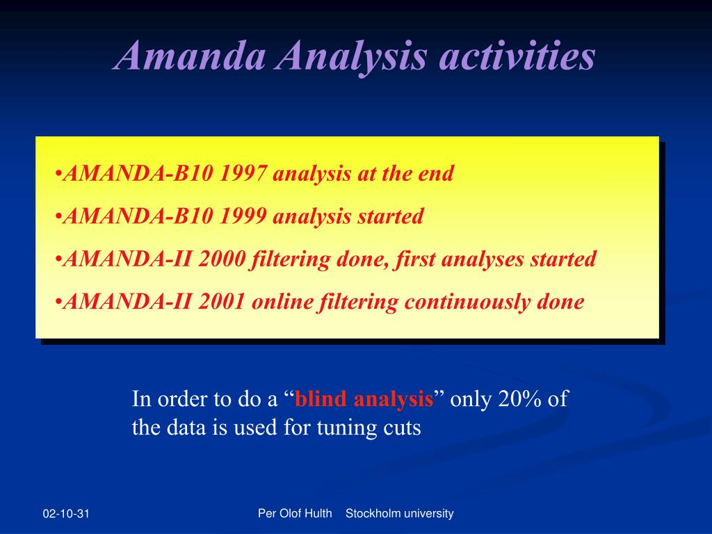 Amanda Analysis activities