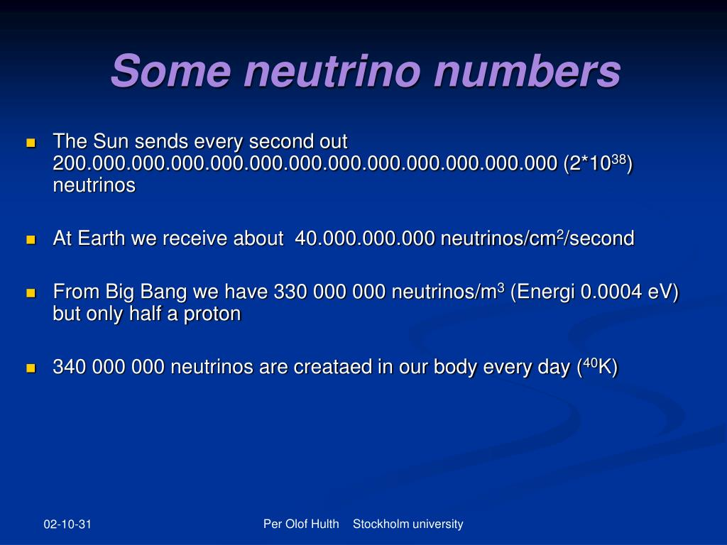 Some neutrino numbers