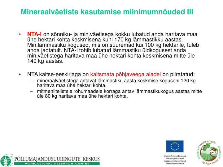 Mineraalväetiste kasutamise miinimumnõuded III
