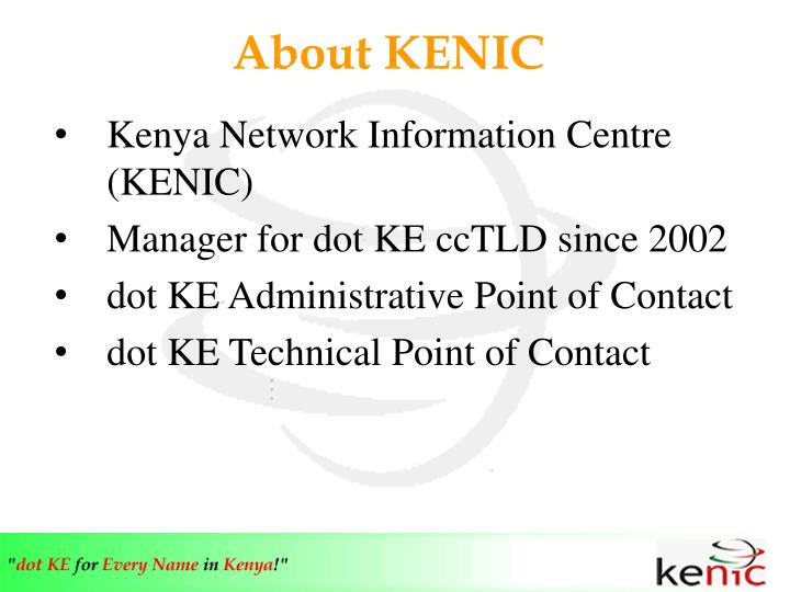 About KENIC
