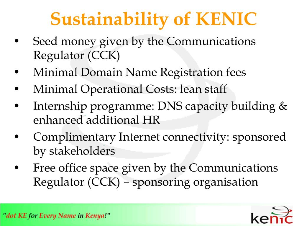 Sustainability of KENIC
