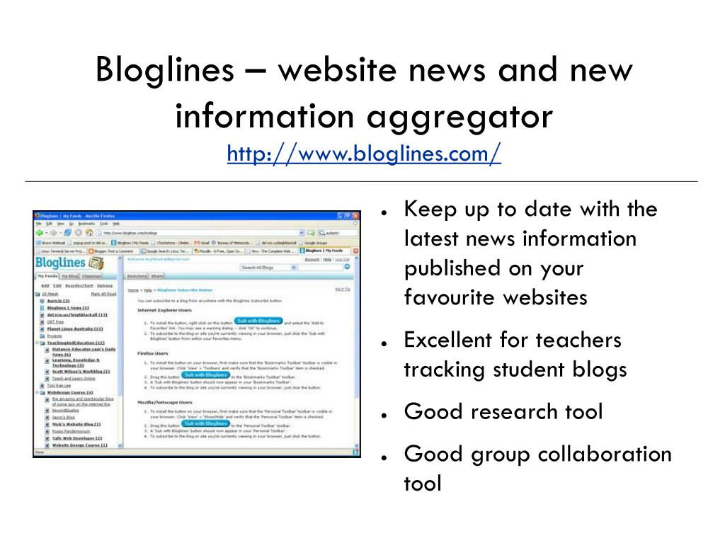 Bloglines – website news and new information aggregator