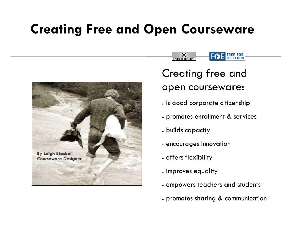 Creating Free and Open Courseware