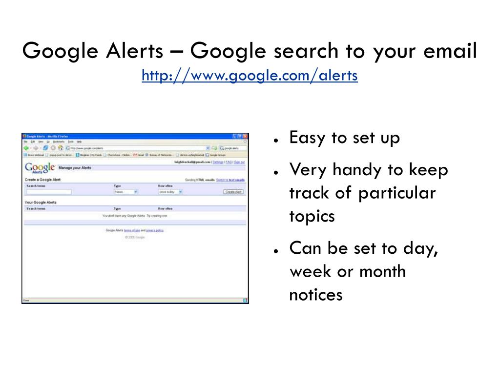 Google Alerts – Google search to your email