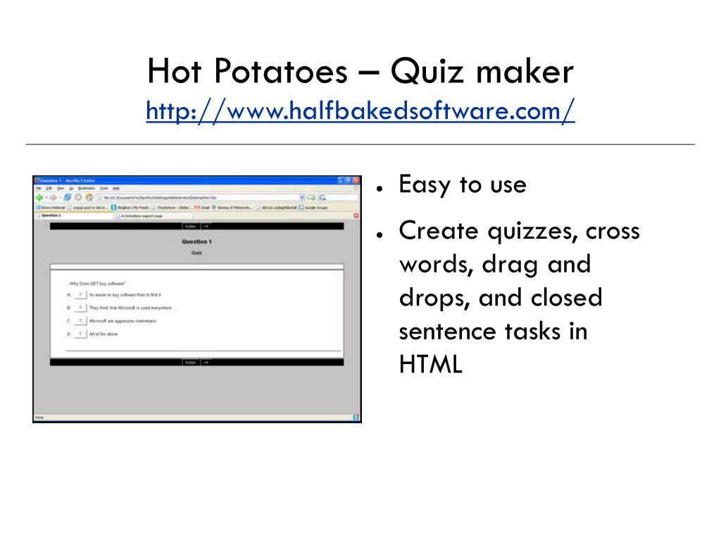 Hot Potatoes – Quiz maker