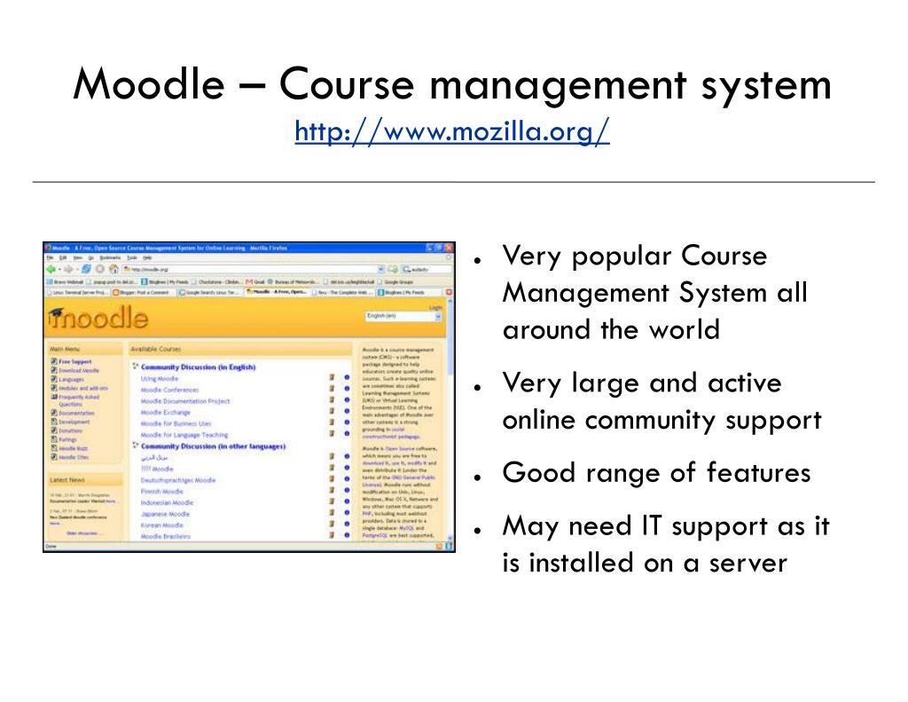 Moodle – Course management system