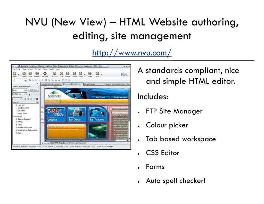 NVU (New View) – HTML Website authoring, editing, site management