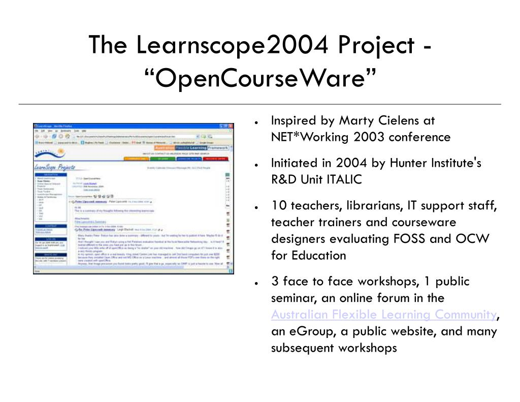 """The Learnscope2004 Project - """"OpenCourseWare"""""""