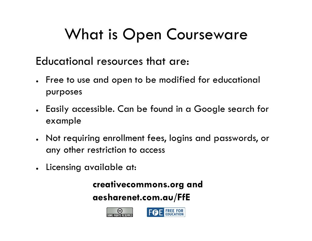 What is Open Courseware