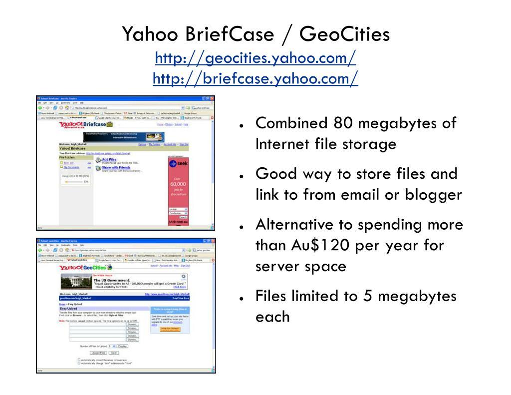 Yahoo BriefCase / GeoCities