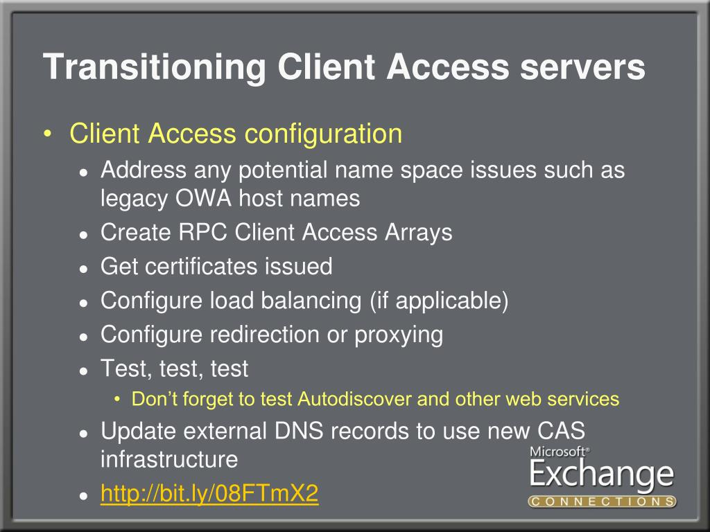 Transitioning Client Access servers