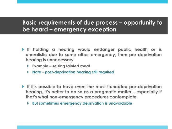 Basic requirements of due process opportunity to be heard emergency exception