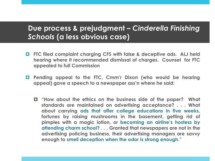 Due process & prejudgment –
