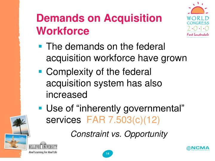 Demands on Acquisition Workforce