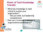 power of tacit knowledge transfer