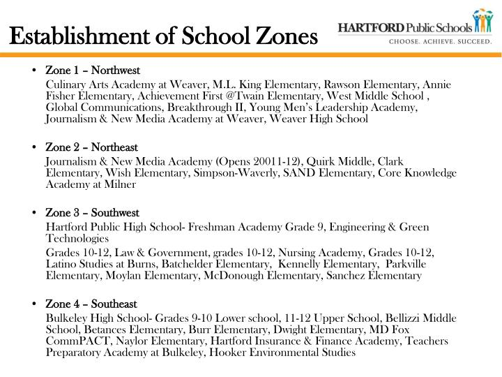 Establishment of school zones
