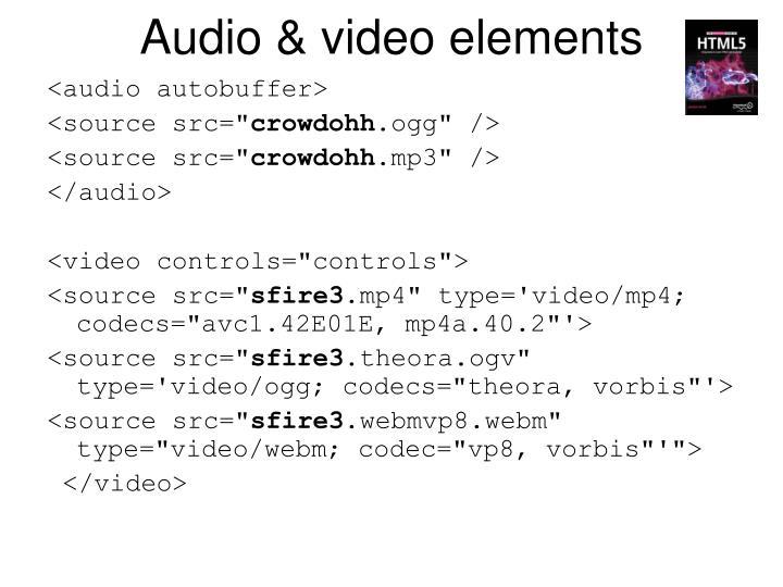 Audio & video elements