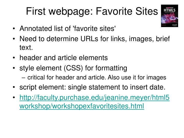 First webpage: Favorite Sites