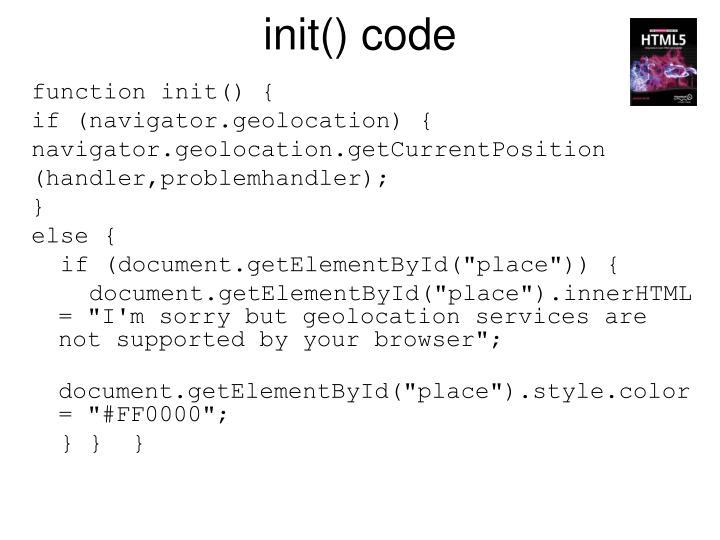 init() code