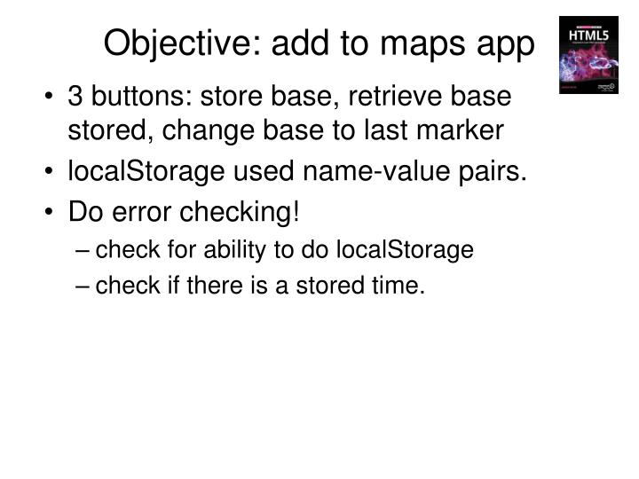 Objective: add to maps app