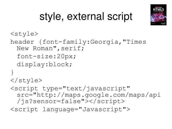 style, external script