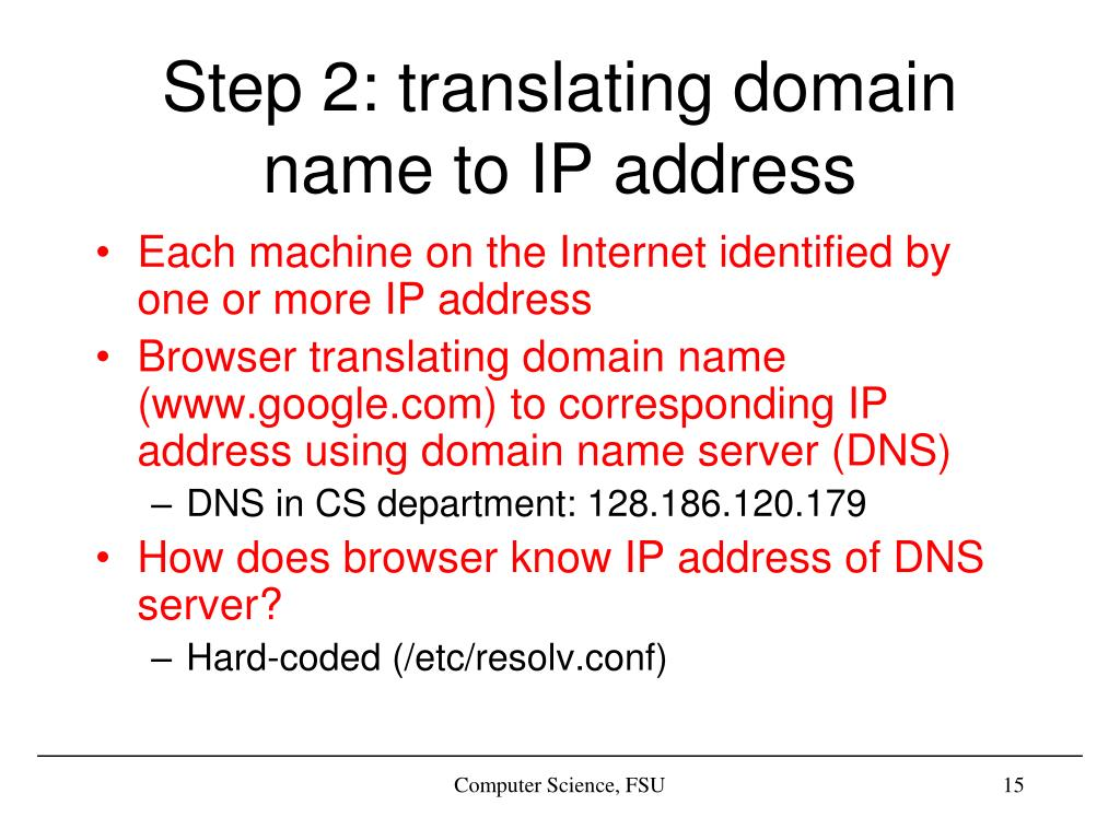 Step 2: translating domain name to IP address