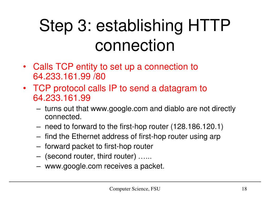 Step 3: establishing HTTP connection