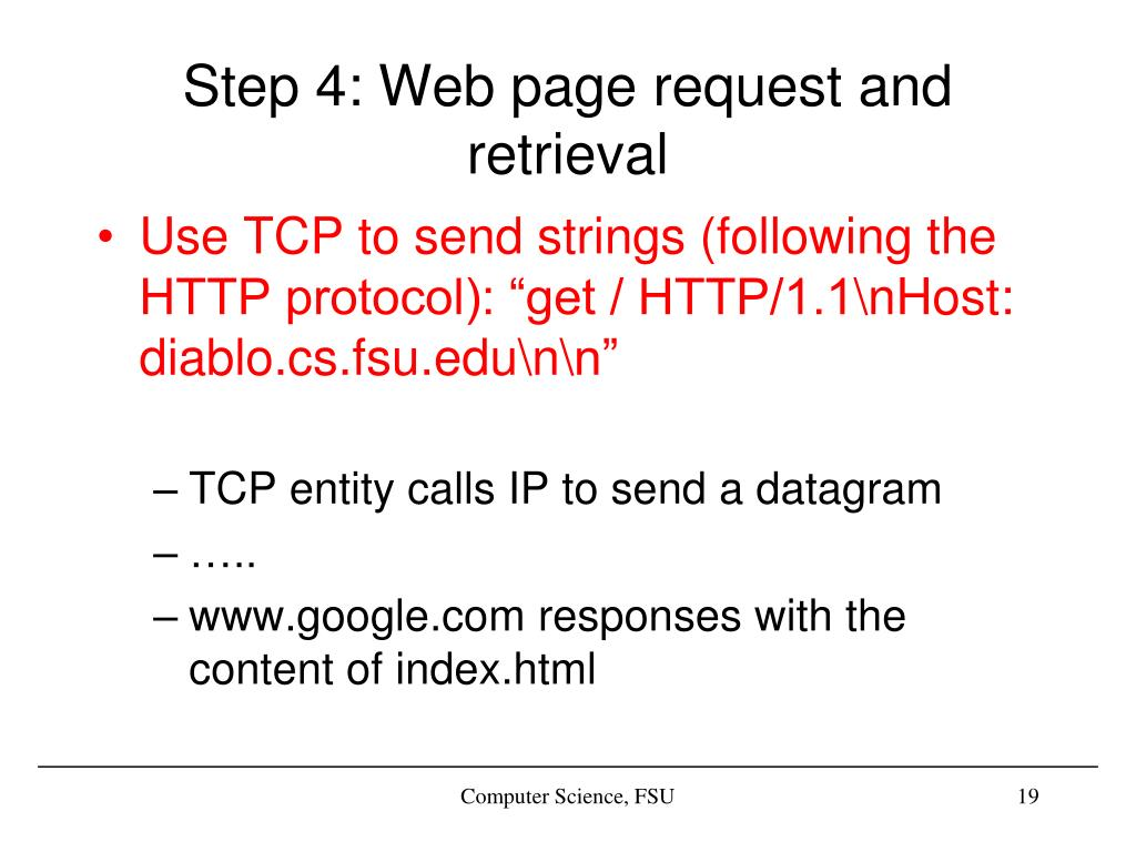 Step 4: Web page request and retrieval