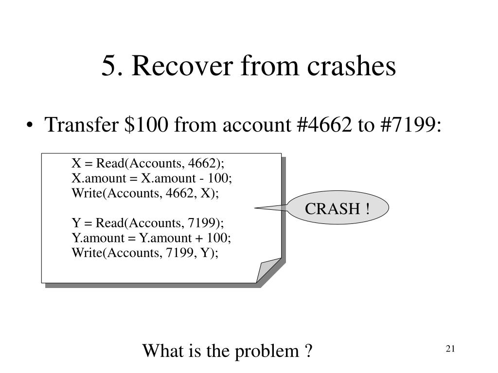 5. Recover from crashes