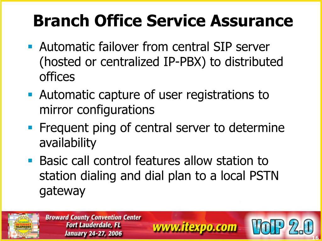 Branch Office Service Assurance
