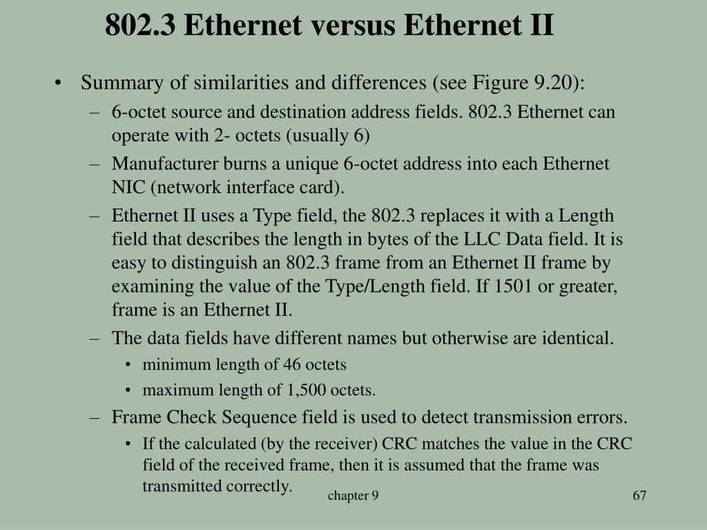 802.3 Ethernet versus Ethernet II