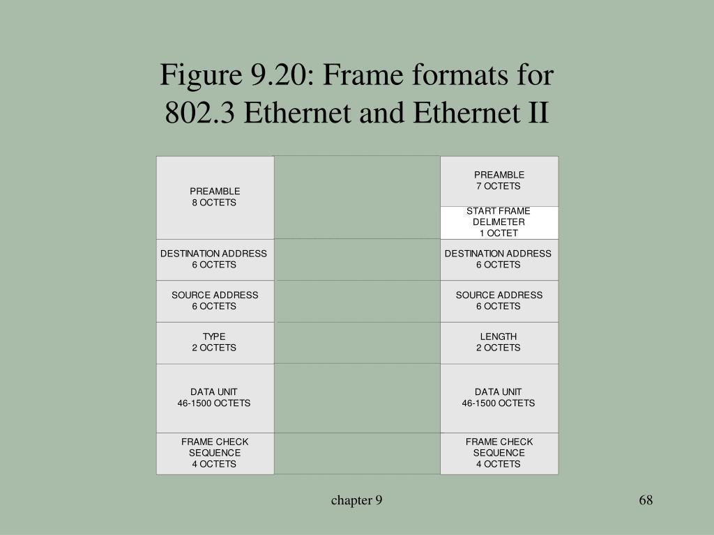 Figure 9.20: Frame formats for