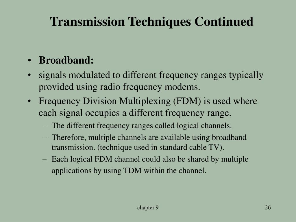 Transmission Techniques Continued