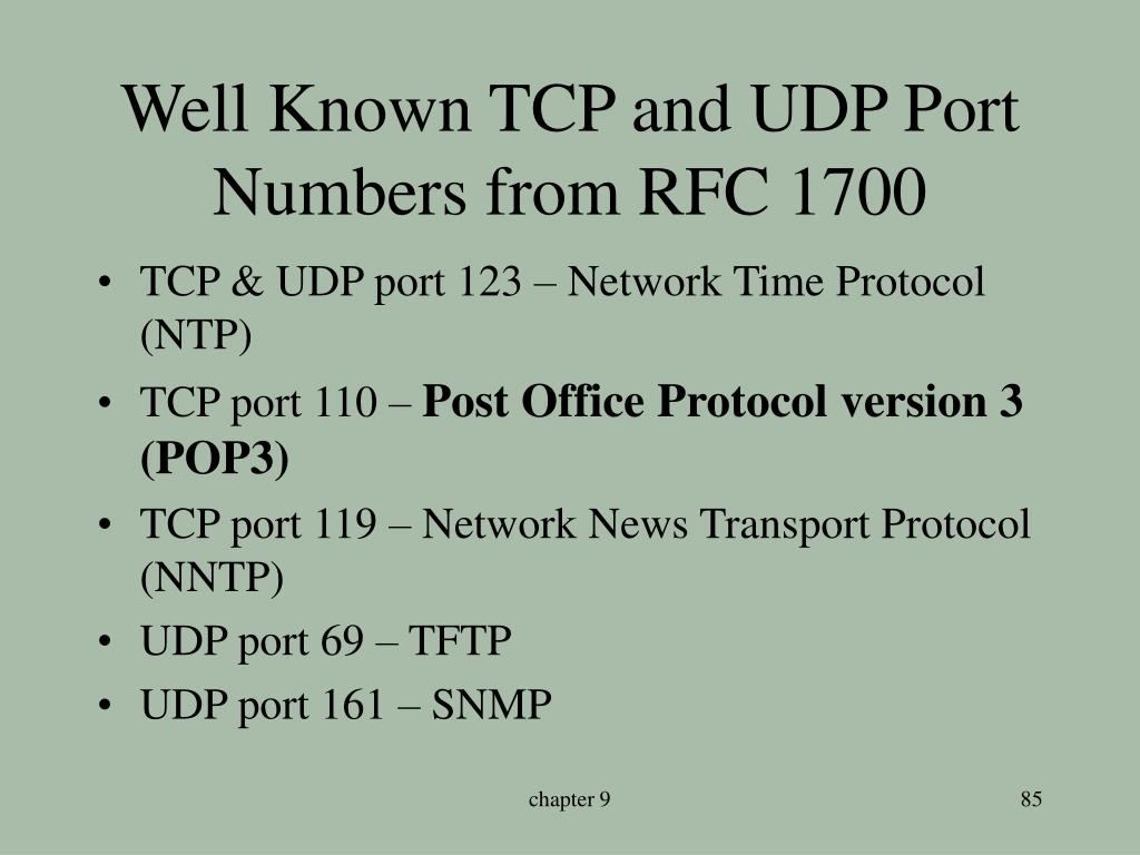 Well Known TCP and UDP Port Numbers from RFC 1700