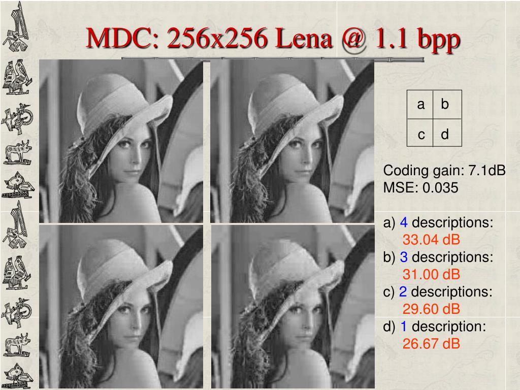 MDC: 256x256 Lena @ 1.1 bpp