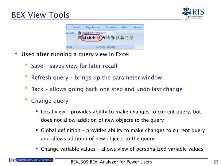 BEX View Tools