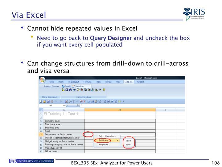Via Excel