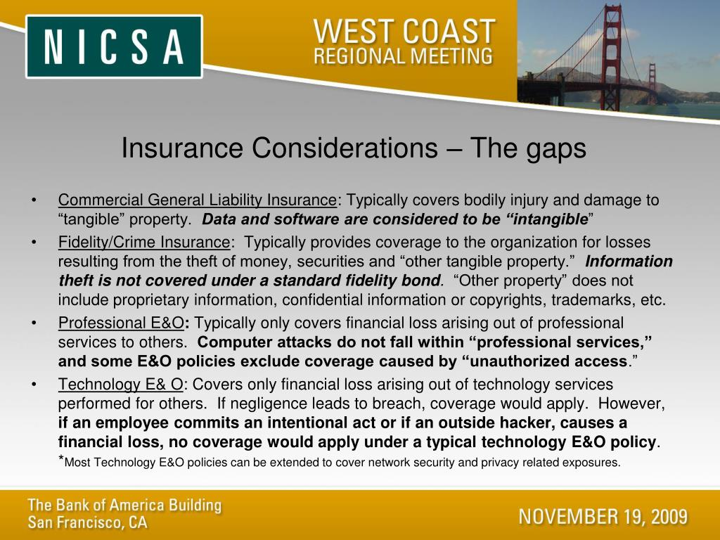Insurance Considerations – The gaps