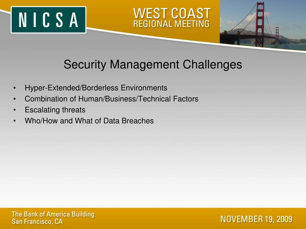 Security Management Challenges