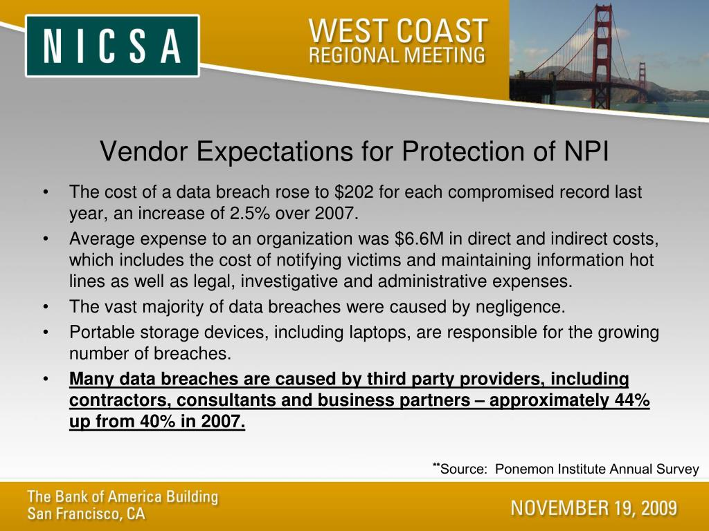 Vendor Expectations for Protection of NPI