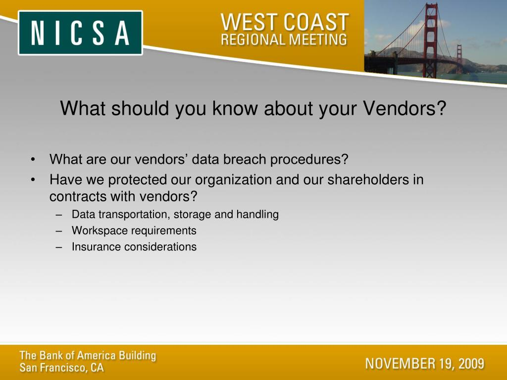 What should you know about your Vendors?
