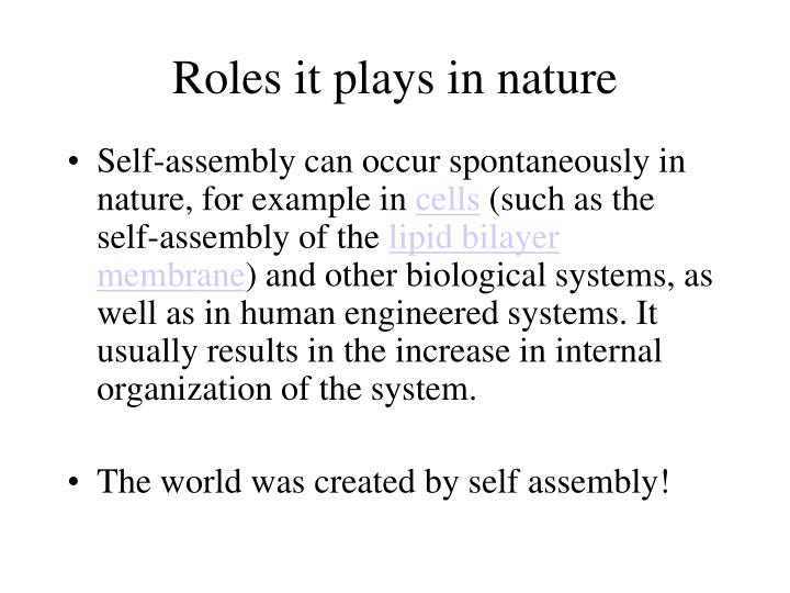 Roles it plays in nature
