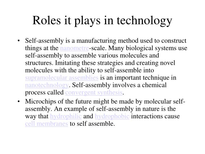 Roles it plays in technology
