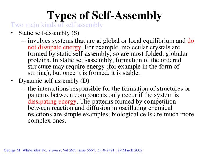 Types of Self-Assembly