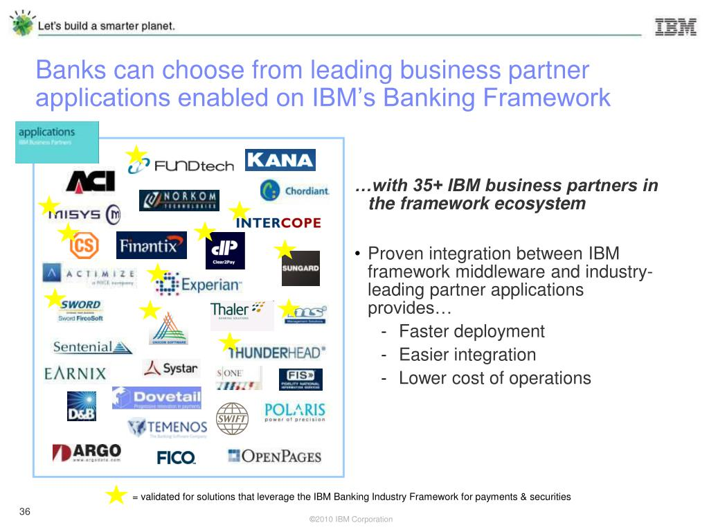 Banks can choose from leading business partner applications enabled on IBM's Banking Framework