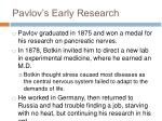 pavlov s early research