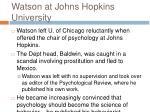 watson at johns hopkins university