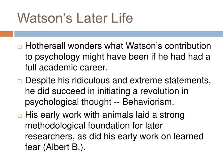 Watson's Later Life